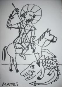 Lupta cu balaurul - desen de Matei Mircioane