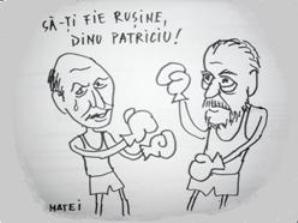 Traian Băsescu vs. Dinu Patriciu - desen de M. Mircioane