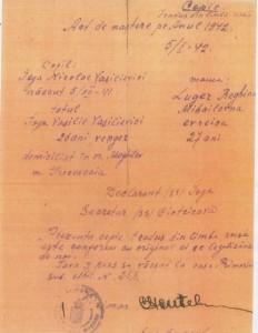 Traducerea certificatului de naştere emis in ianuarie 1942, la Moghilev Podolsk, pe numele de Ioja Nicolae Vasilievici, tatal -vengher (maghiar), mama evreica