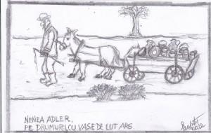 Negustorul Adler, tatal lui Avrum, desen de Mihai Eisikovits