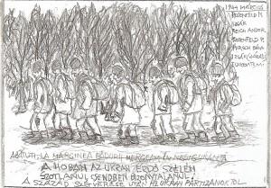 În martie 1944, pe frontul ucrainean cu detaşamentul de muncă - desen de M. Eisikovits
