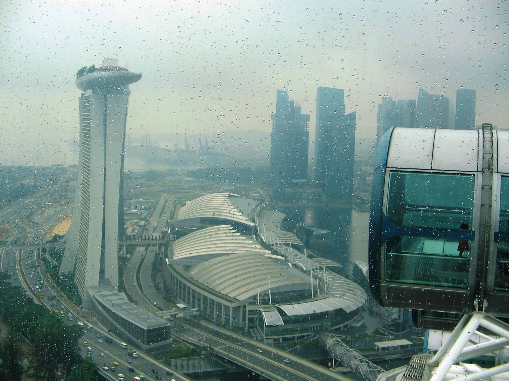 Deasupra orasului Singapore. Imagine panoramica